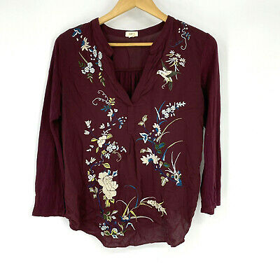 $ CDN33.73 • Buy Tiny Anthropologie Shirt Size Medium Womens Wine Red Embroidered Floral Top