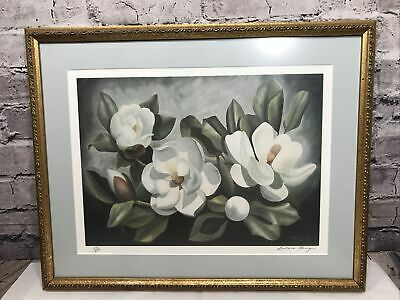 $147.88 • Buy Vintage Framed & Matted Magnolia Print By Artist Barbara Louque Limited Edition