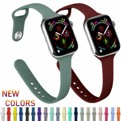 $ CDN7.36 • Buy For Apple Watch Series 6 5 4 3 2 SE Slim Silicone Strap Replacement Band Sports