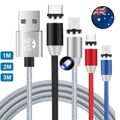 AU8.99 • Buy 1~2M 3IN1 Strong Magnetic Plug Charging Cable For IPhone Sumsung Fast Charger AU