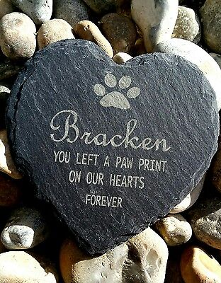 £5.99 • Buy Personalised Engraved Slate Stone Heart Pet Memorial Grave Marker Plaque Cat Dog