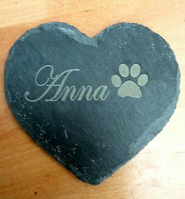 £4.99 • Buy Personalised Engraved Slate Stone Heart Pet Memorial Grave Marker Plaque Dog