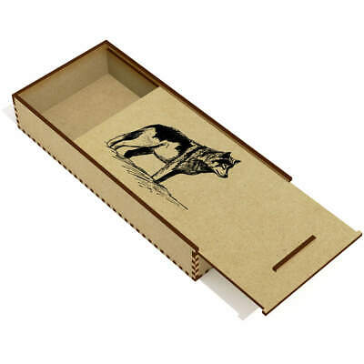 £6.99 • Buy 'Wolf' Wooden Pencil Case / Slide Top Box (PC00004224)