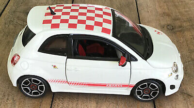 Fiat Abarth 500 Burago 1:24 Scale, White With Red Chequered Roof • 5£
