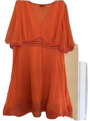 AU12.62 • Buy Asos Lovely Orange Dress Size 18 In Excellent Condition Sheer Back And Sleeves