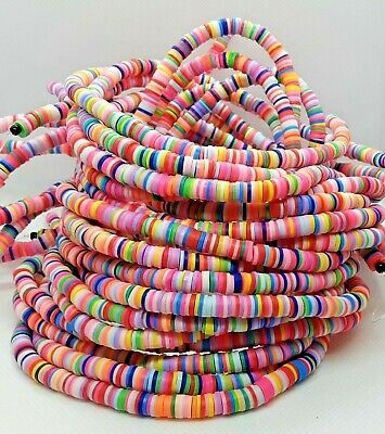 £2.80 • Buy Polymer Clay Heishi Beads Flat Round Mixed Colours 6 X 1 Mm 380-400pcs UK
