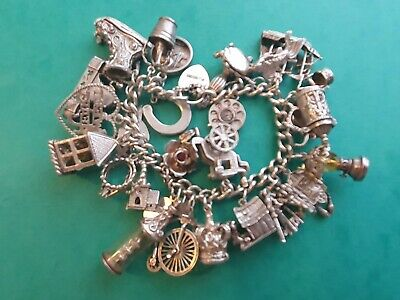 Beautiful Vintage Solid Silver Charm Bracelet & 29 Charms, Rare, Open, Move... • 150£