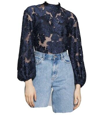 AU129 • Buy Alice Mccall Magic Bell Lace Top Navy Size 8 NWT