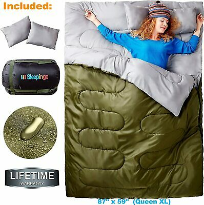 $86.26 • Buy Cold Weather Sleeping Bag F 0 Degree 2 Person Two Double For Adults Backpack NEW