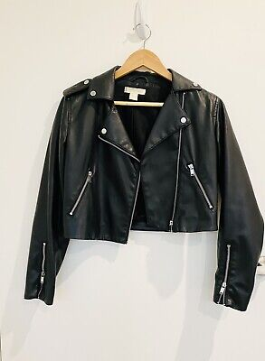 AU15 • Buy H&M Womens Size 8 Cropped Faux Leather Jacket
