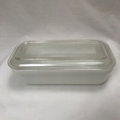 $15.99 • Buy Vintage White Fire King Refrigerator Dish With Lid Fireking Colonial Loaf Milk