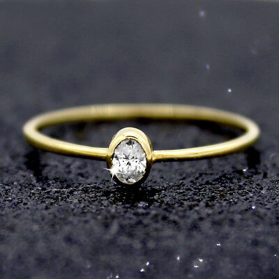 AU566 • Buy Oval Diamond Engagement Ring 9kt Yellow Gold Simple Engagement Stacking Ring