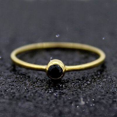 AU566 • Buy Round Black Diamond Engagement Ring 9kt Yellow Gold Simple Stacking Ring