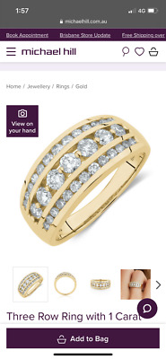AU799.95 • Buy MICHAEL HILL CURRENT Three Row Ring 1 Carat TW Diamond 10ct Yellow Gold RRP$1200