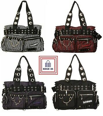 £30 • Buy Banned Apparel Gothic Rockabilly Emo Punk Plain And Stripes Handcuff Side Bag