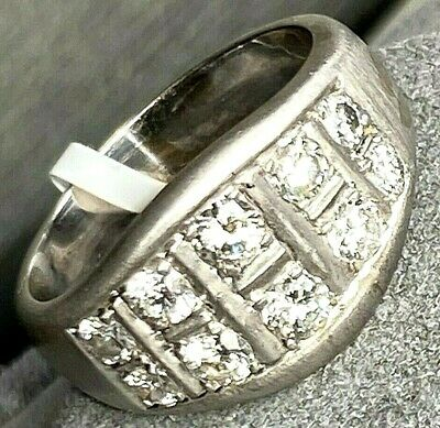 $2100 • Buy 18K White Gold Diamond Textured Fluted Band Ring Size 8.75 Mens Or Womens
