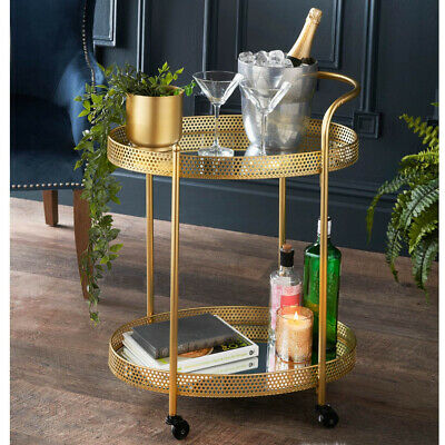 £45.99 • Buy Deco Glamour Drinks Trolley - Gold With 2 Mirrored Shelves - Art Deco Theme