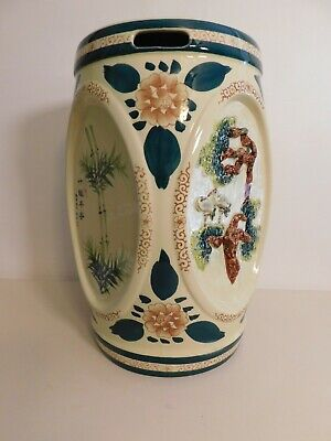 £109.02 • Buy Vintage Ceramic Garden Stool With 4 Panel Scenes Two With Writing