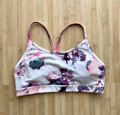 $ CDN18.73 • Buy Women's Lululemon Flow Y Bra IV Blurred Blossoms White Sz 4 Cute!