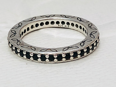 AU69 • Buy Authentic Pandora Sterling Silver Black CZ Eternity Ring 190618 Retired Size 56