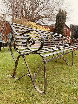 Antique Victorian Wrought Iron Scrolling Strap Garden Bench/ Seat/ Large/Bench • 750£
