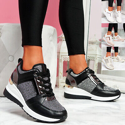 $ CDN29.41 • Buy Womens Ladies Wedge Trainers Sneakers Lace Up Snake Glitter Women Shoes Size