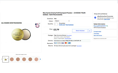 £3.79 • Buy Max Factor Creme Puff Compact Powder - -CHOOSE YOUR SHADE-- SOLD OVER 13,000