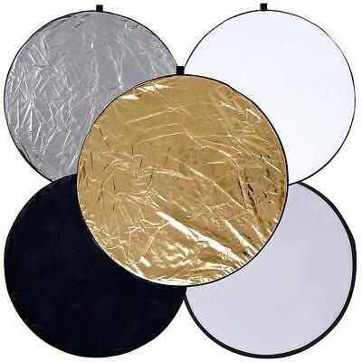 5 In 1 Collapsible Light Round Photography Reflector For Multi Photo (60cm) • 8.79£