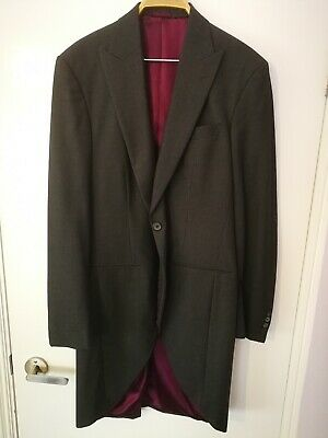 $41.67 • Buy Mens 42L 100% Wool GREY Tailcoat Wedding Ascot Morning Suit Dress Tails Jacket