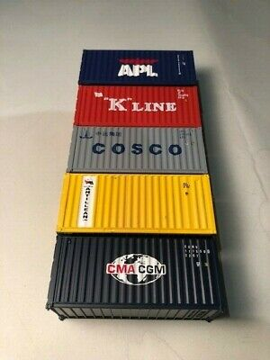 AU33 • Buy HO Scale Walthers FIVE 20' Shipping Containers Various Lines