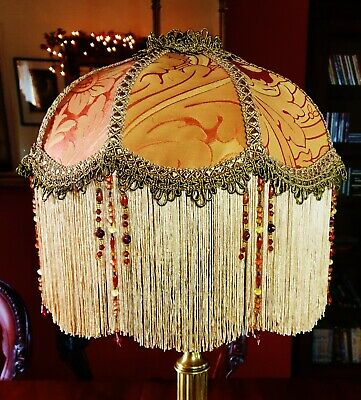 £139 • Buy Connie, Victorian Downton Beaded Lampshade.soft Coppery Terracotta Silk 12