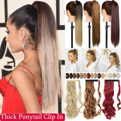 £9.56 • Buy Clip In Ponytail As Human Hair Extension One Piece Pony Tail Straight 100% Thick