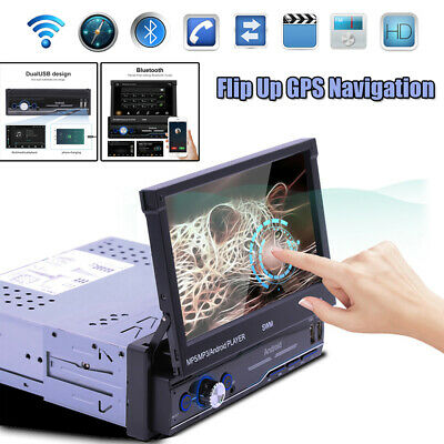 $152 • Buy 7  1DIN HD Andriod 8.1 Flip Up GPS Navigation DSP Car Stereo MP5 Player Radio