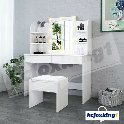 AU229.49 • Buy Dressing Table Stool Set LED Bulbs Makeup Mirror Jewellery Drawer Cabinet White