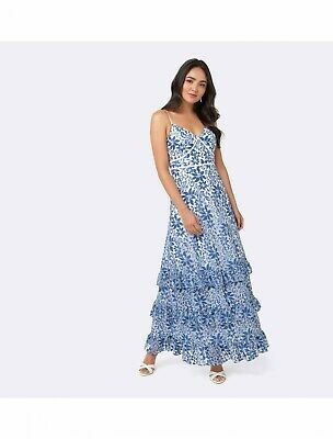 AU30 • Buy Forever New Dress Size 6, Julia Lace Tiered Gown, Blue And White Floral BNWT