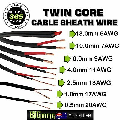 AU30.39 • Buy Twin Core Cable 0.5mm~13mm COPPER Wire Dual Sheath Insulated Auto Caravan Solar