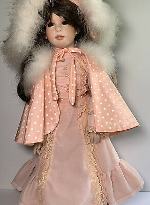 $ CDN187.97 • Buy Vintage Handmade Porcelain Doll W/ Stand No Eyes Pastel Pink Clothes Brown Hair