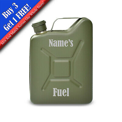 £13.95 • Buy Personalised Engraved Green Jerry Can Hip Flask With Fuel Design