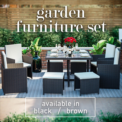 £489.99 • Buy Rattan Garden Furniture 8 Seater Outdoor Dining Table Chairs Cube Patio Set