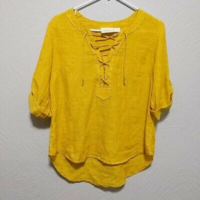$ CDN25 • Buy Maeve By Anthropologie Size 2P Women's Blouse Yellow Petite High-Low