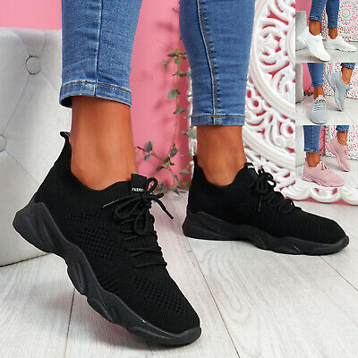 $ CDN22.49 • Buy Womens Ladies Chunky Trainers Knit Sneakers Sport Running Women Shoes Size Uk