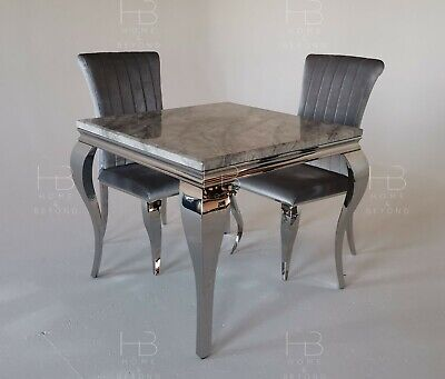 £299.99 • Buy Louis 90cm White/Grey/Black/Ivory-Cream Marble Dining Table New 2021 Plus Chairs
