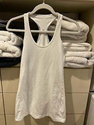 $ CDN17.50 • Buy Lululemon Sz 4 White Reversible Racerback Tank Top Long