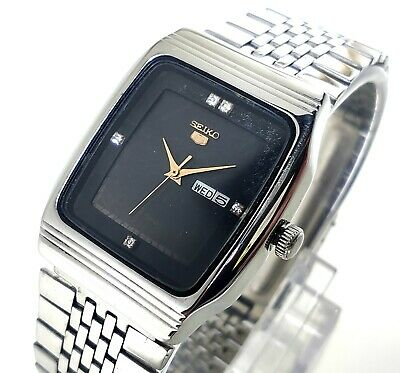 $ CDN37.60 • Buy Seiko 5 Automatic Wind Day Date Black  Dial Steel Mens Watch Small Size 30mm