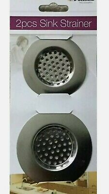 £2.39 • Buy New 2pc Stainless Steel Sink Bath Plug Hole Strainer Basin Hair Trap Drainer Cov
