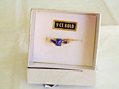 AU179 • Buy 🎀prouds 9ct Gold, Created Sapphire And Diamond Ring Size N🎀