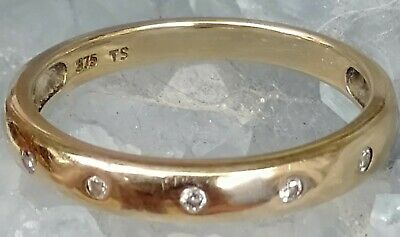 AU150 • Buy Ladies Engagement Wedding Band Ring 9ct Gold Cubic Zirconia Size 6 Size L
