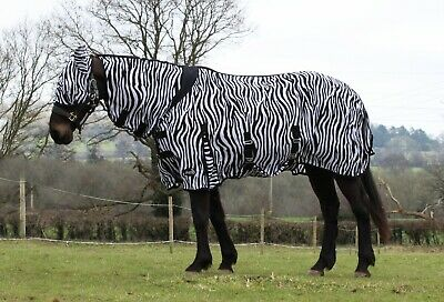 £29.69 • Buy Zebra Print Horse Fly Rug All In One Belly And Tail Flap Elastic Neck FREE MASK