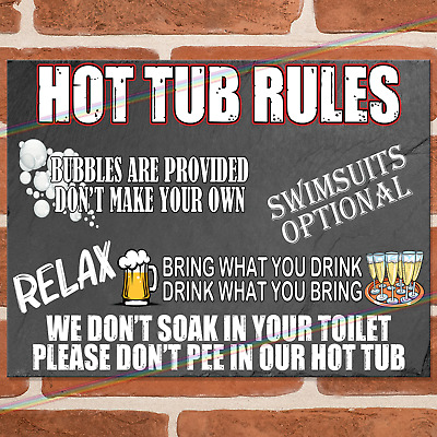 £6.95 • Buy HOT TUB RULES Metal Signs Funny Plaque Garden Party Jacuzzi Joke Tin Sign UK
