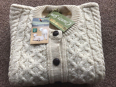 """£42.99 • Buy Traditional Cream 100% British Wool Cable Knit Aran Cardigan Small 34"""" Chest"""